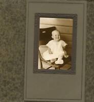 Antique Studio Photo-Little Baby W/ Big Smile Sitting