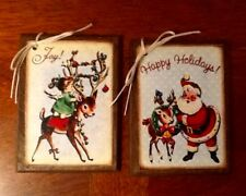 5 Handcrafted Wooden Retro Style Christmas Ornaments, HangTags, Gift Tags  Set+2