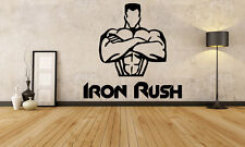Wall Decor Vinyl Sticker Mural Decal Art Gym Fitness Iron Rush Muscles FI1177