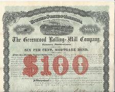 1881 Pennsylvania Greenwood Rolling-Mill Co Bond Stock Certificate #34 Tamaqua