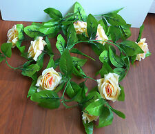 "2 x 90"" Rose Flowers Vine Artificial Plants Hangings Wedding Garland Arch Decor"