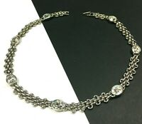 Vintage MONET Crystal Rhinestone Station Necklace Silver Chain Choker MINT ii91M