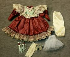 """Vintage Doll Clothes Victorian Dress w/Shoes for 20""""  doll Burgundy"""