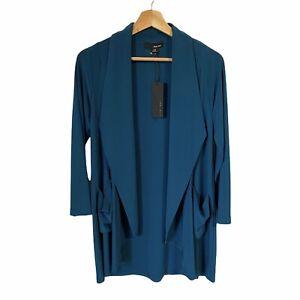 SUN KIM Teal Blue Green Open Front Jacket Blazer Pockets Dressy Women's XS NWT