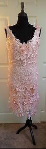 Flapper Gatsby Blush Pink 3D Embroidered Double Lace V-Back Midi Wedding Dress