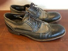 JOHN VARVATOS Collection Mens Wingtip Leather/Canvas Oxford Shoes 11 Brown/Olive