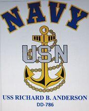 USS RICHARD B. ANDERSON  DD-786* DESTROYER* U.S NAVY W/ ANCHOR* SHIRT