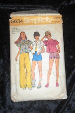 Vintage Simplicity 5634 Misses Smock Top Pants Shorts Sewing Pattern Size 12 CUT