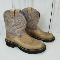 Ariat Fatbaby US Size 7.5 B Tan & Purple Croc Pattern Cowgirl Boots #16763