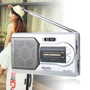 Mini Portátil Bolsillo AM/FM Telescópica Antena Receptor Radio Mundial Altavoz
