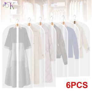 6 Pack Set Clear Polythene Garment Covers Suit Dress Coat Dust Protector Zip Bag