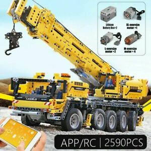 2590pcs RC Power Mobile Crane Truck Car Technic Motor Model Building Blocks DIY