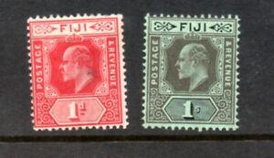 Fiji 1906 Edward VII Mult Crown CA Wmk 1d & 1/- Mounted Mint