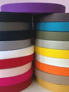 French 100% Cotton Thick 2mm Webbing Belt Tape Strap   25mm - sold by the metre