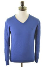 FRED PERRY Mens V-Neck Jumper Sweater Small Blue Wool