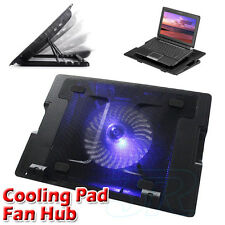 "Laptop Cooling Fan Cooling Stand Pad Blue LED 9-17"" Extra USB Port"