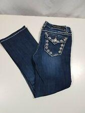Juniors LA IDOL Boot Cut Jeans BLING Dark Wash Cotton Blend Sz 9S VGUC Cute!!!!