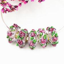 5pcs MURANO Lampwork charm Beads fit 925 silver European Bracelet Chain a495