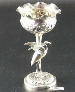 Chalice with bird miniature, silver 0.950, 114 g, India
