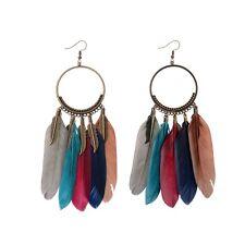 Women Vintage Bohemian Boho Bronze Hollow Circle Leaves Feather Tassel Earrings