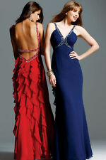 Faviana Couture Beaded Halter Gown Dress Navy Sz 4 NEW