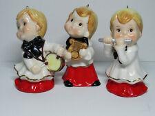 Three Vintage Japan Christmas Boy Figurines Ornaments Hanging Loop Mcm Musical