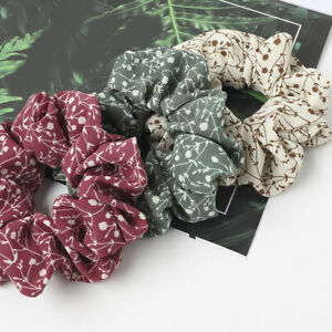 Women Sweet Chiffon Scrunchies Floral Hair Tie Ring Rubber Band Ponytail Holder