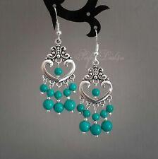 Natural Turquoise Chandelier Blue Green Earrings 925 Sterling Silver Hook Tibeta
