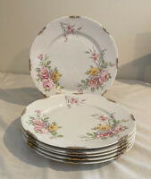 Set of 6 Warwick China Rosemont 990 Dinner Plates Pink Yellow Roses