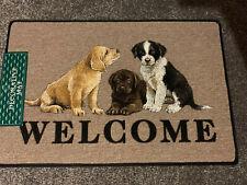3 puppies Welcome Dog door mat (golden Lab ,chocolate Lab And Collie)