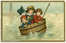 ARTIST SIGNED. ETHEL PARKINSON. ENFANTS. CHILDREN. TONNEAU. BATEAU. BARREL.BOAT