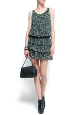 NWOT MANGO Animal Print Green Ruffle Summer Dress Small (8 UK) (XS US) ZARASOS