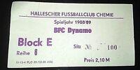 Ticket HFC Chemie Halle BFC Dynamo Berlin 1988/89 DDR Oberliga Eintrittskarte