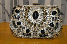 Bridal Stone Bead Pearls Diamante Diamond Evening Wedding Clutch Purse Party Bag