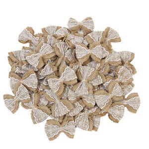 100pcs Hessian Jute Burlap Lace Bows DIY Crafts Bow Ties Wedding Party Decor
