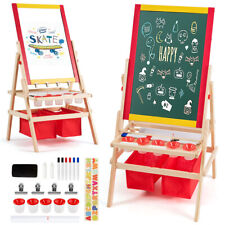 Flip-Over Double-Sided Kids Art Easel with Paper Roll Storage Bins & Accessories