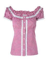 Ramona Lippert® Trachtenbluse Damen Laila pink kariert Gr. 34-46, Mieder Bluse