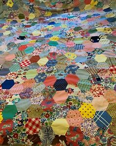 Vintage Antique Quilt Top Hexagons Scrappy Hand-Pieced 51 x 62 inches