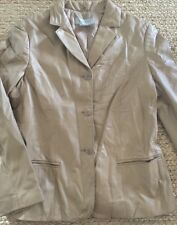 Nine West Black Leather Fitted Blazer Jacket M
