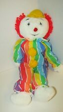 Eden OBO Clown Plush Vintage Cloth Doll White Rainbow Striped Outfit 23-25""