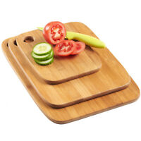 BAMBOO CHOPPING BOARD SET | 3 PIECE SOLID WOODEN KITCHEN FOOD CUTTING BOARDS