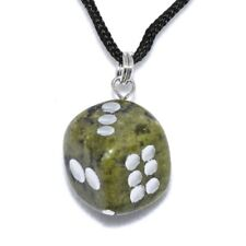 D6 Dice Serpentine Hand Carved Gemstone Pendant Necklace Natural Stone Jewelry