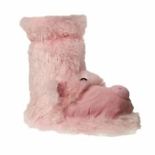 GIRLS GROSBY PINK OINK PIG BOOTIES BOOTS SLIPPERS WINTER NIGHT SHOES SIZE 4-12