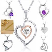 Herzkette Anhänger Halskette Zirkonia 925 Silber Damen-Kette Geschenke Frauen