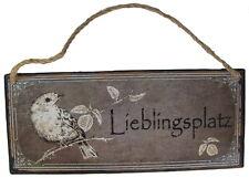 """Schild Metall Groß """"Lieblingsplatz"""" 30 x 13 cm mit Sisal Aufhänger"""