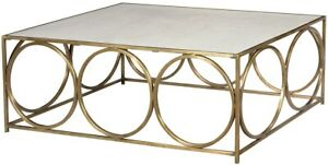"""48"""" Long Coffee Table Steel Tube With Ring Fram Polished Marble Inset Top An 460"""