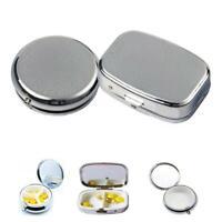 Portable Silver Metal Rectangle Round Pill Box Drug Holder Medicine Tablet Capsu
