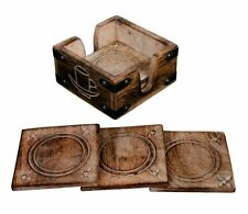 More details for coasters hand carved wood tray style 6 coaster mat set in brick effect holder