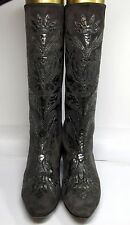 Andrea Pfister Neiman Marcus Vintage 80's Suede Couture Grey Embossed Boots US 8