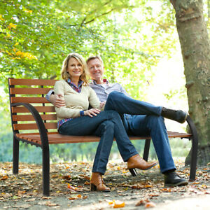 "48"" Hardwood Slotted Garden/Park Bench | Weather-resistant materials"